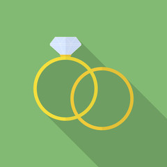 Simple ring and ring with diamond or jewel. Flat style icon