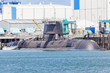 canvas print picture - Submarine in a naval shipyard