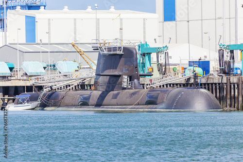 canvas print picture Submarine in a naval shipyard