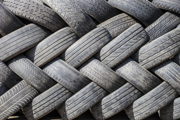 tires of car wheel texture, used tires stacked beautifully, abst