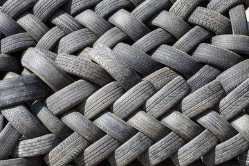 stacked used car rubber black tires, wheel, vehicle, background,