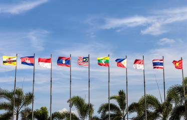 flags of southeast Asia countries on blue sky background