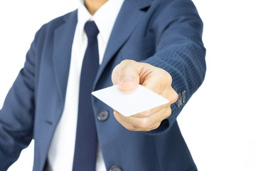 Businessman Hold Business Card or White Card in 45 Degree View I