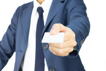 Businessman Hold Business Card or White Card in Straight View Is