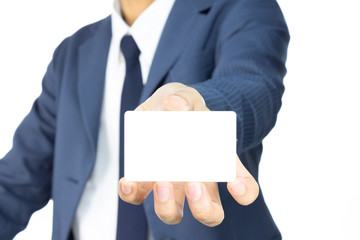 Businessman Hold Business Card or White Card at Low Level Isolat