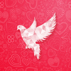 abstract dove for Valentine's Day design with hand drawn hearts