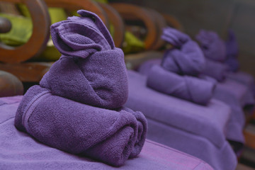 rabbit purple towel for use in spa