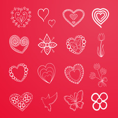 hand drawn hearts and flowers for Happy Valentine's Day design