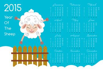 2015 Calendar With Cartoon Sheep