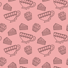 Seamless pattern with coffee and cakes