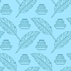 Seamless pattern with feathers and inkpots