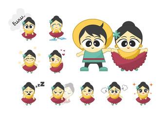 Cute Emoticon Set Girl and Boy 1