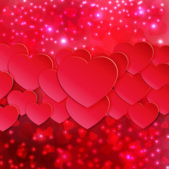 hearts and lights red colorful background for Valentine's Day