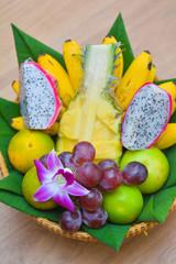 Fresh fruits on basket