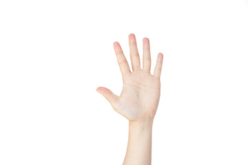 Japanese hand gesture: Number five on isolated white background