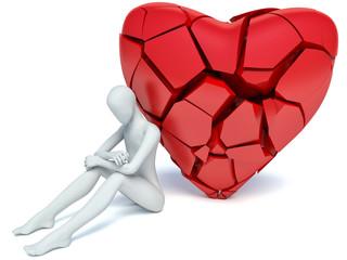 3d man and broken heart