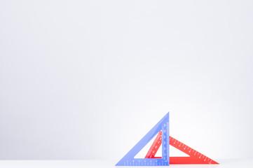 Ruler.Triangle ruler on desk.