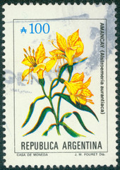 stamp printed in the Argentina shows Peruvian Lily