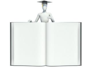 3d man showing an open book