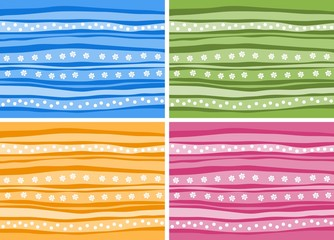 Set of  striped background with abstract flowers and dots