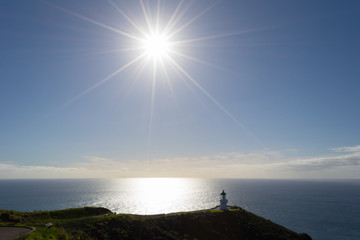 Cape Reinga lighthouse in backlight