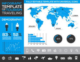 Editable infographics with diagrams and charts - tourism
