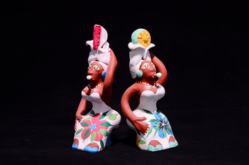 Clay Handmade Statuette of a Cuban Woman