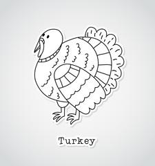 Turkey drawing, sticker style