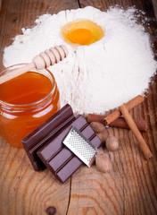 baking ingredient on wooden background