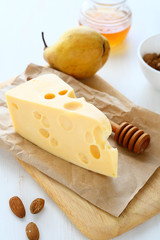 Cheese with almonds and pear