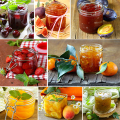 collage of different kinds of jam (peach, strawberry, orange)