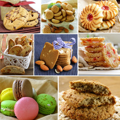 collage of different kinds of cookies (almond, ginger, oat,)