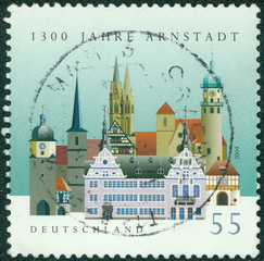 stamp printed in the Germany shows View of Arnstadt, Thuringia