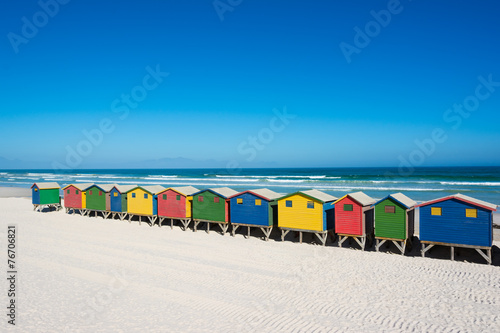 Papiers peints Pays d Afrique Bunte Strandhäuser bei Kapstadt