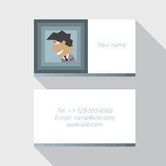 Modern business card template in blue color Flat Design