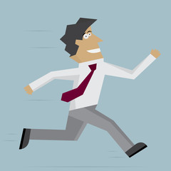 Businessman run forward. Vector illustration. Flat design