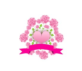 Pink heart with circle of flowers
