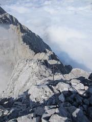 Watzmann via ferrata climbing route above the clouds