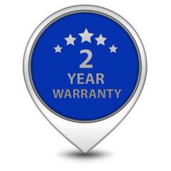 Two year warranty pointer icon on white background