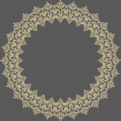 Damask Vector Pattern. Orient Round Ornament