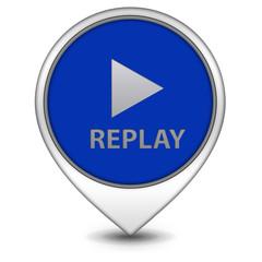 Replay pointer icon on white background