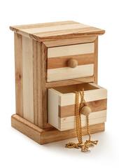 Golden chain in wooden box