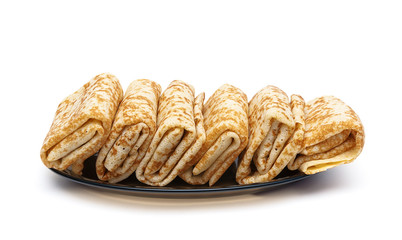 Russian pancakes on a plate isolated on white background