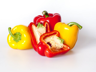 Large red and yellow paprikas