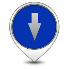 Down Arrow pointer icon on white background