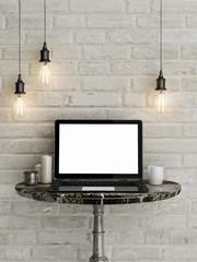 Mock up laptop, work station, 3d illustration
