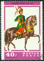 stamp printed in Hungary shows Border-country Lancer