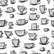 Set of ornate mugs. Seamless pattern for your design
