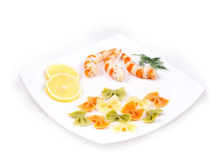 Fresh shrimps and pasta