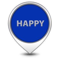 Happy pointer icon on white background
